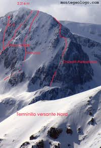 Terminillo NE side 3, the routes