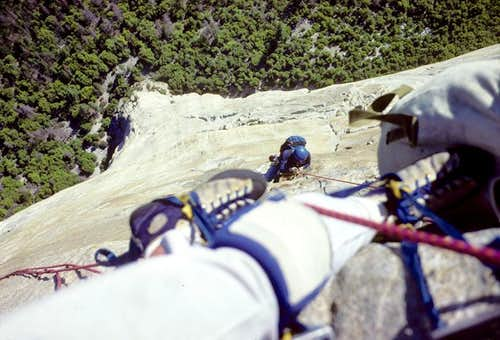 Hanging Belay, Muir Wall