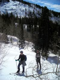 Ski shortcut from Yellow Pine creek