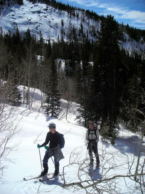 Ski shortcut from Yellow Pine creek