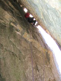 Scotty Nelson leads through the first chimney on the Winter Chimney
