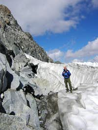 The bergschrund adjacent to...
