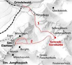 Route to Schreckhorn hut