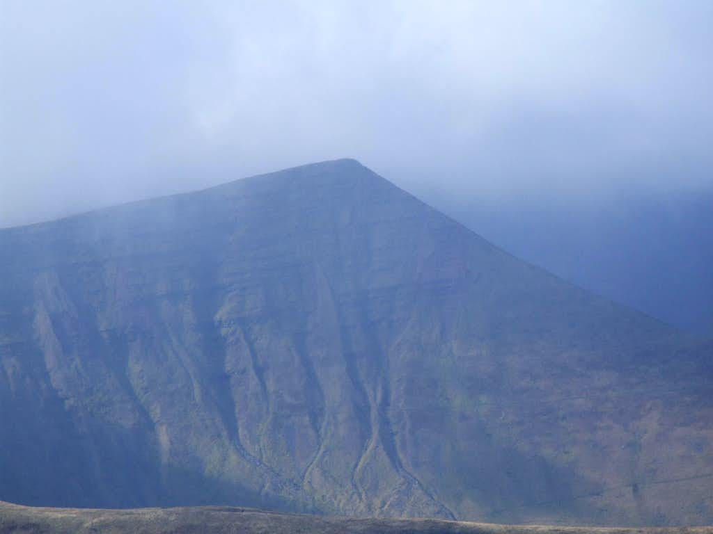 Cribyn seen through the mist from the East