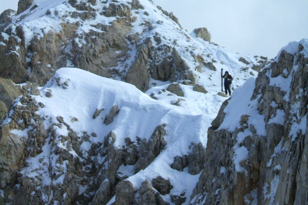 Skier on the top of Corno Grande