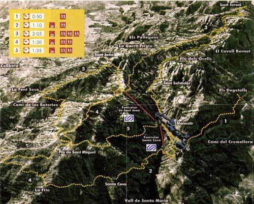 Placa Santa Maria to Sant Jeroni Route Map