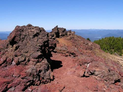 The red cinder summit of...