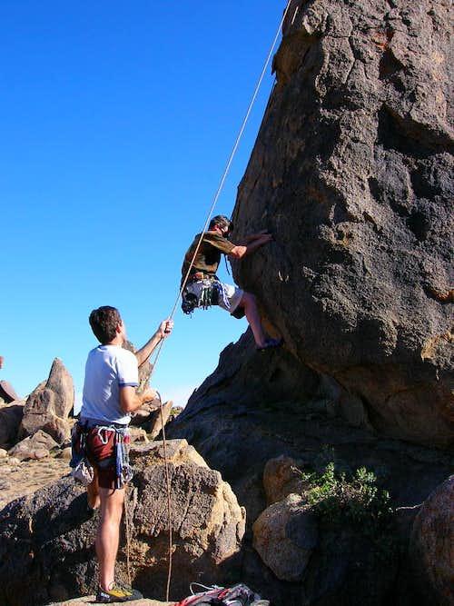 Rick Kent climbing <i>Burnt Penis</i>