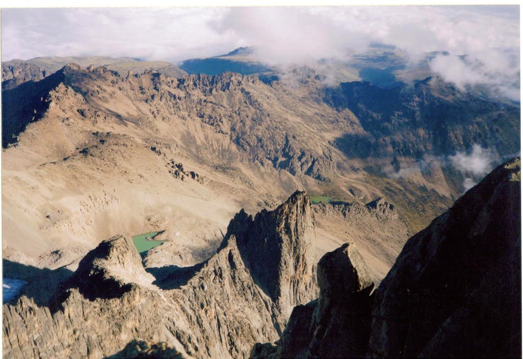 View from Batian summit to Hausburg Col