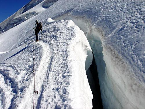 Crevasses on the normal ascent to Allalinhorn