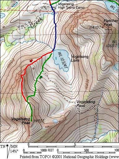 Topo map illustrating ascent...