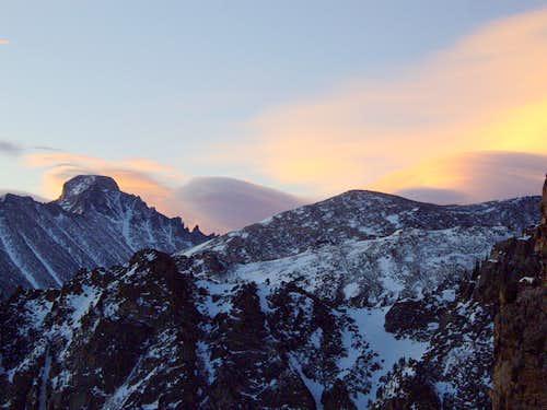 Longs Peak and Thatchtop before sunrise