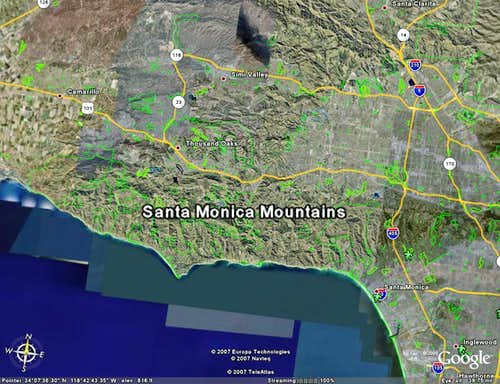 Google Earth Image of Santa Monica Mountains