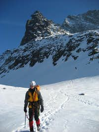 Descend after summiting Mnich