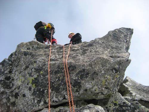 Rappeling from the summit of Mnich