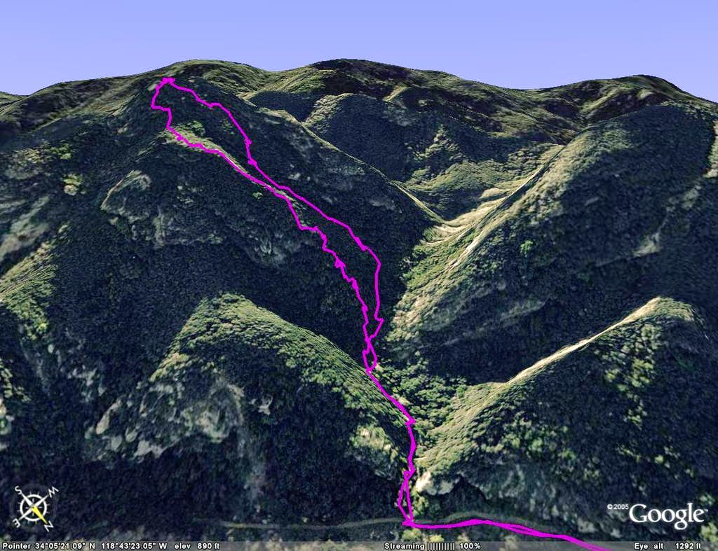 Route to Brents Mnt on Google Earth