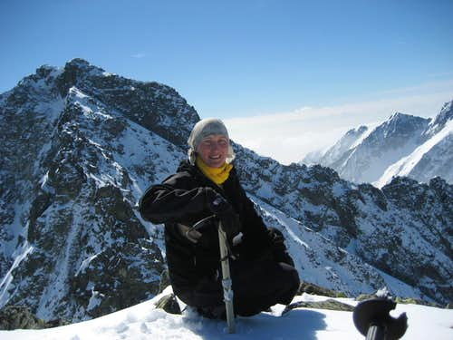 Ieva on the summit of Niznie Rysy
