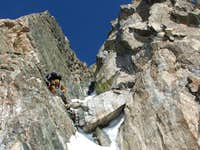 Climbing the first ramp of the couloir