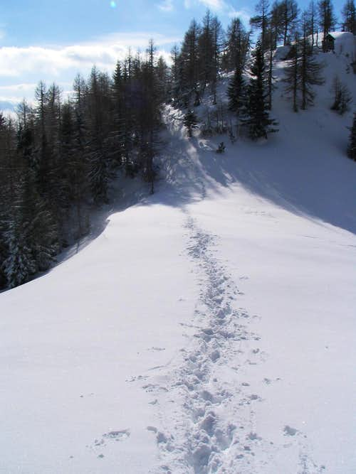 Hiking from the hut to top