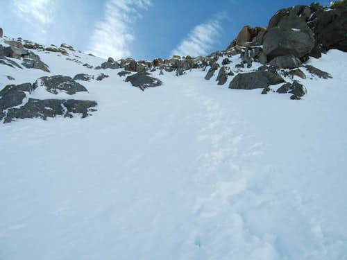 part way up North Couloir of Thunderbolt