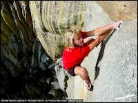 Michael Reardon soloing Romantic Warrior at the Needles, CA