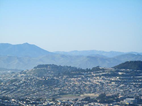 Mount Davidson and Mount Tamalpais from summit of San Bruno Mtn.