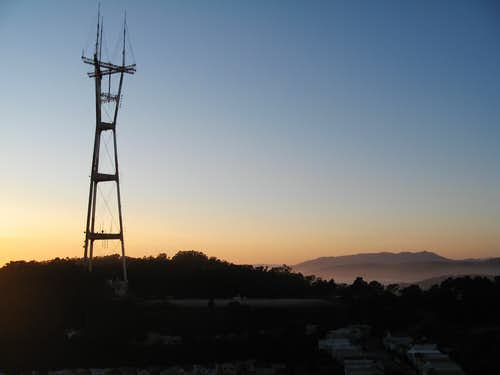 Sutro Tower and Mount Tamalpais at sunset