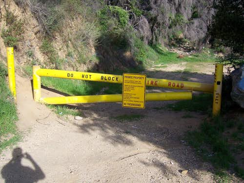 Evey Canyon Road trailhead gate.