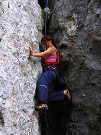 Climbing in a chimney in Rudice, Czech Republic
