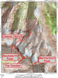 Map showing the Cleaver...