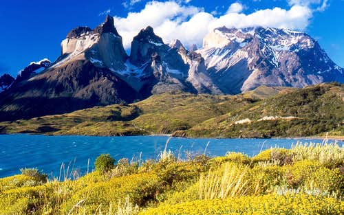 Cuernos del Paine from Lake Pehoe\'