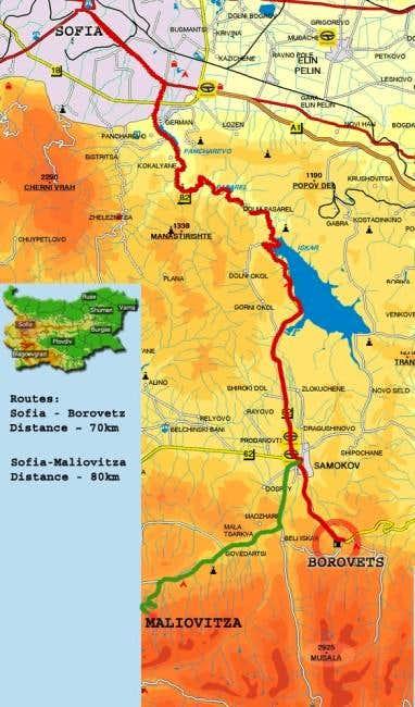 Map of local routes between...