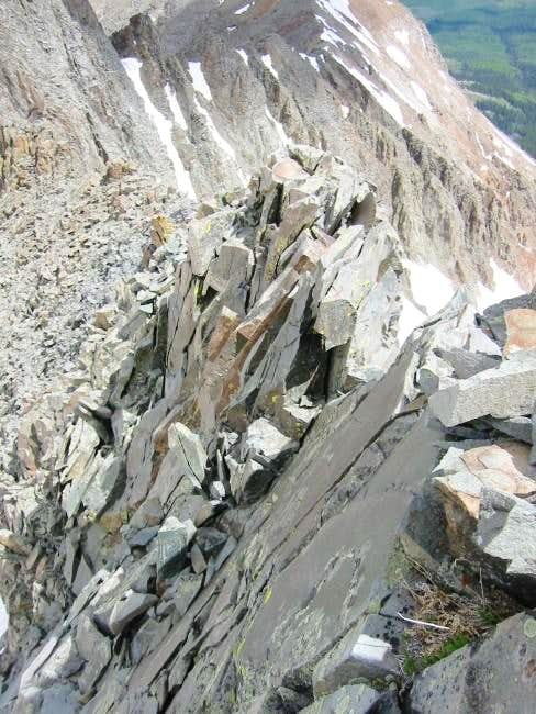 Looking down at a crux...