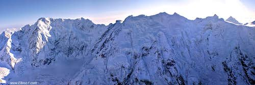 Bezengi wall panorama, as seen from rescue helicopter from 5000 m