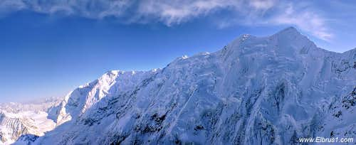 Panorama of Bezengi wall, as seen from rescue helicopter from 5000 m
