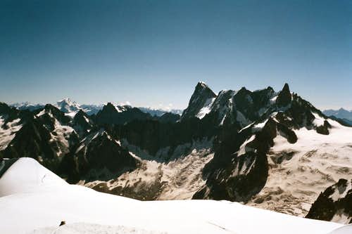 View of Grandes Jorasses, Rochefort ridge and Dent du Géant
