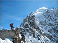 Standing near the summit of the Petite Aiguille Verte