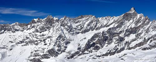 Panorama of Dent d'Herens from Plateau Rosa