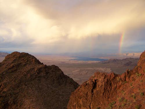 Rainbow at Sunset over Lake Mead