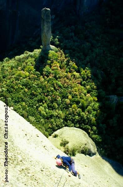 Climbing Sourloti Rock.