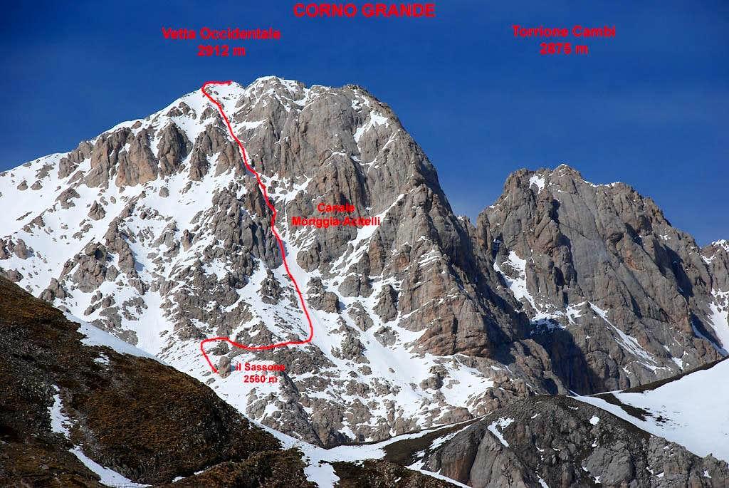 Moriggia Acitelli Couloir Climbing Hiking