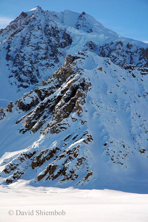 Peak in the Tordrillos, with climbers below