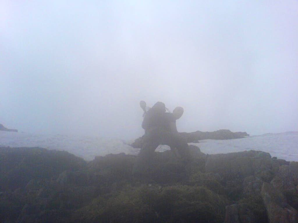 Nearing the top in the mist