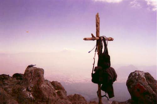 The cross marks the summit...