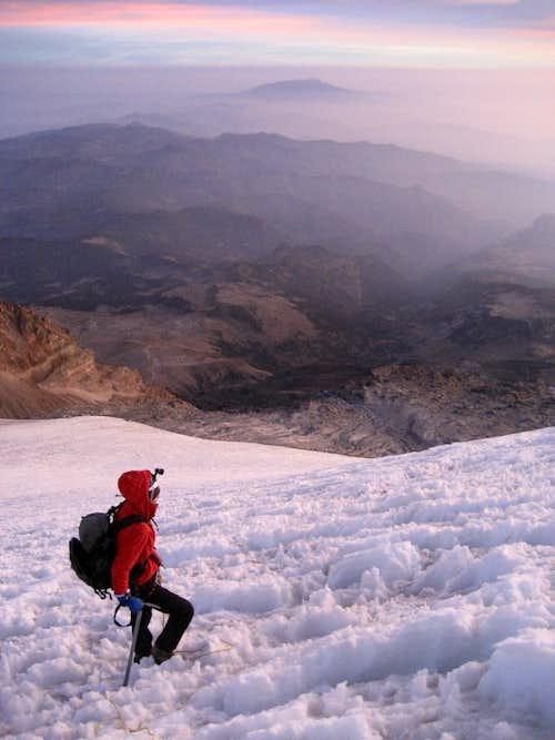 Debbie climbs the Jampa Glacier