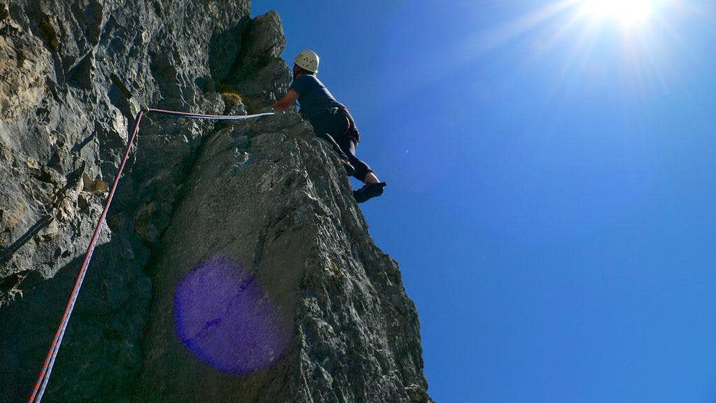 Michael above the belay
