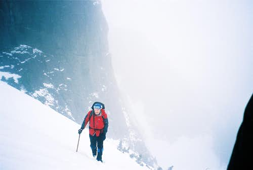 Sandy Briggs in the Main Snow Gully