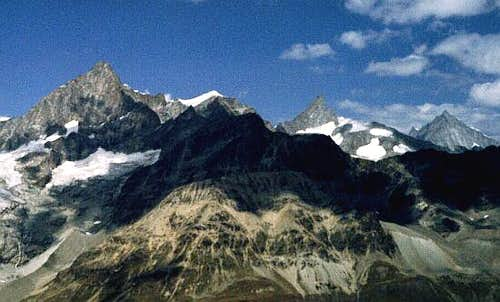 Obergabelhorn, Zinalrothorn and Weisshorn