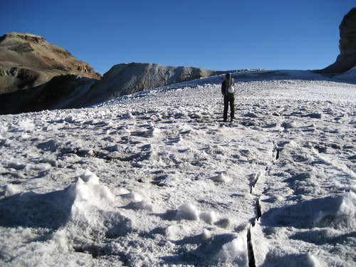 Crevasse Splitting the Belly Glacier