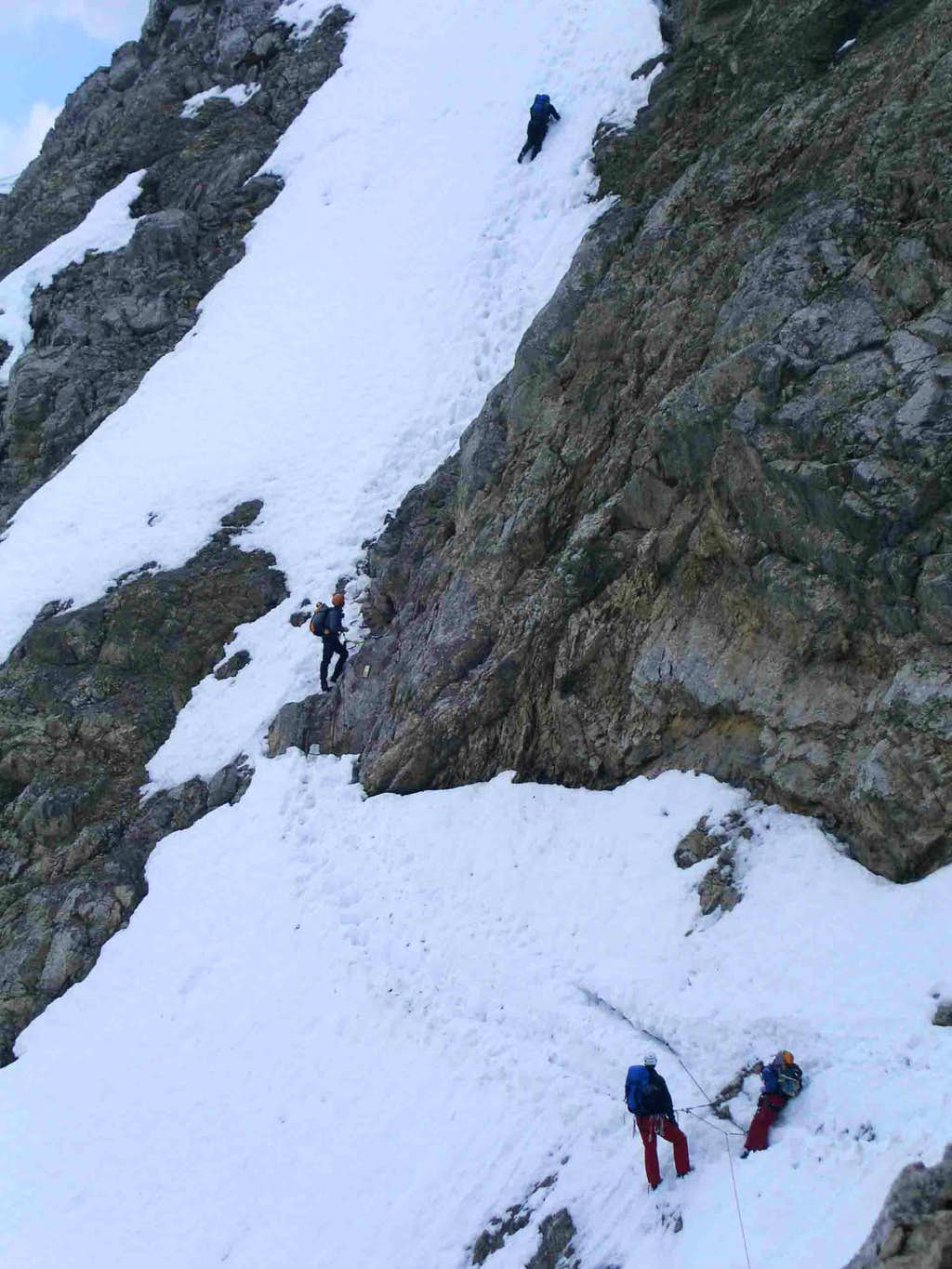 Snowfield traverse without good belays (April 2007)